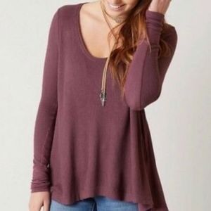 Free People We The Free Malibu Over-Sized Thermal Twilight Mauve People Top XS